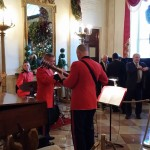 A military band greeted us on the landing