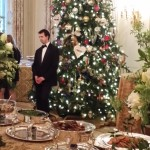 Buffet table and holiday decor in the State Dining Room