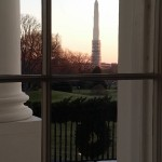 View of the South Lawn and Washington Monument (under repair) from the Blue Room